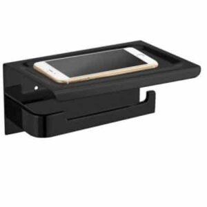 Telefoon Toiletrolhouder Mat-zwart/RVS/Chroom