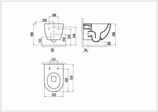 GEBERIT Inbouwreservoirset Rimless technische tekening 1