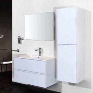 Aloni Compleet Set Badkamermeubel met Kolomkast en Spiegel 60 cm Hoogglans Wit