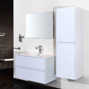Aloni Compleet Set Badkamermeubel met Kolomkast en Spiegel 80 cm Hoogglans Wit