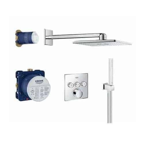 Grohe Smart Control set Rapido SmartBox, Grohtherm Smartcontrol opbouw, handdouche, silverflex doucheslang, Rainshower