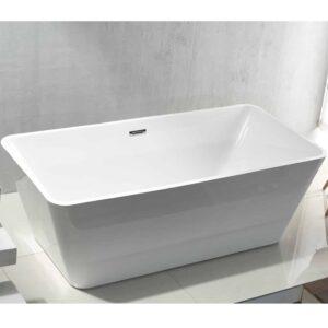 Vrijstaand Ligbad Quadro Acryl 180x80x60 cm Hoogglans Met Afvoer