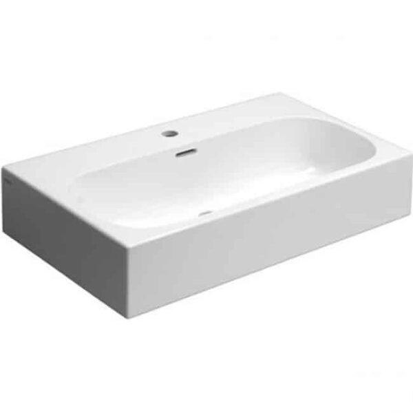 Badkamermeubel Set Clou 70cm Wit/Zwart met 2 Kolomkasten en 2 Ladekasten wasblad ovaal binnenkant