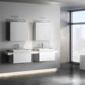 Badkamermeubel Set Clou One Click 210cm Wit Melamine met 2 Spiegelkasten en 2 Kranen