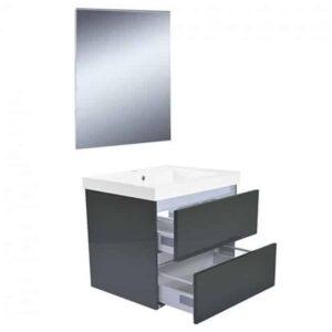Badkamermeubel Set Vision Hangend 60x50x47cm Hoogglans Grijs met Spiegel