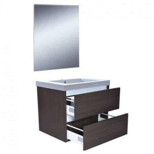 Badkamermeubel Set Vision Hangend 60x50x47cm Houtnerf Grijs met Spiegel