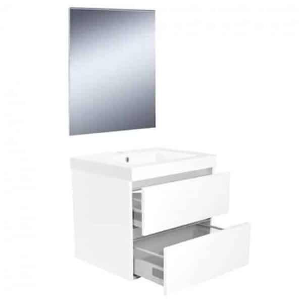 Badkamermeubel Set Vision Hangend 60x50x47cm Hoogglans Wit met Spiegel
