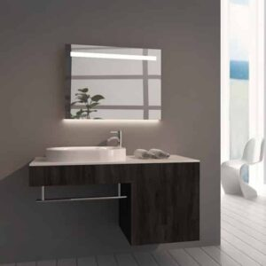 Badkamerspiegel Emby 80x60cm geïntegreerde LED Verlichting Verwarming Anti Condens Touch Lichtschakelaar Dimbaar sfeerfoto