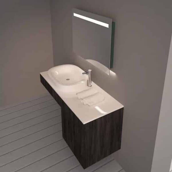Badkamerspiegel Emby 80x60cm geïntegreerde LED Verlichting Verwarming Anti Condens Touch Lichtschakelaar Dimbaar sfeerfoto zijaanzicht afstandperspectief