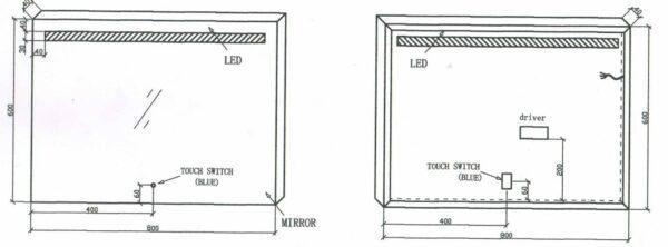 BD Miracle 80x60cm Geintegreerde LED technische tekening