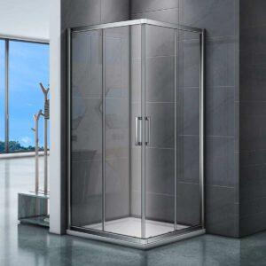 douchecabine-torino-90x90-chroom-schuifdeur-hoekinstap-vierkant-open deur sfeerfoto vooraanzicht 1