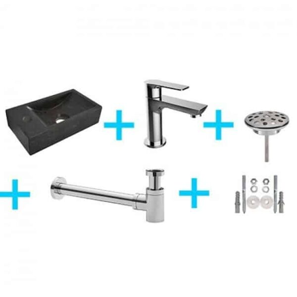 Fonteinset HS Rechthoek Rechts 36x18x9cm Hardsteen Antraciet Toiletkraan Sifon Plug Bevestigingsset