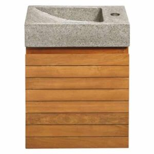 Toiletmeubel Differnz Java Rechthoek 40x20x54cm Terrazzo Grijs Teak Meubel