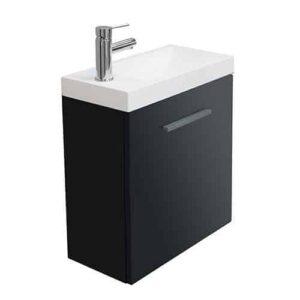 Toiletmeubel Emma Hangend 50x50x25cm MDF Hoogglans Grijs Softclose Kunstmarmeren Wasbak