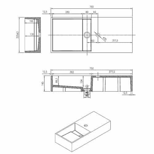 Wastafel Hangend N75 Rechthoek Solid Surface Glans Wit Zonder Kraangat technische tekening afmetingen
