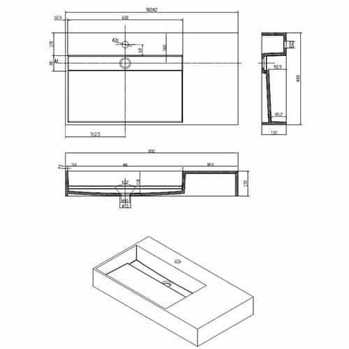 Wastafel Hangend Q90 Rechthoek Zonder Kraangat technische specificaties afmetingen 2