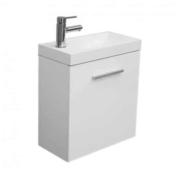 Toiletmeubel Emma Hangend 50x50x25cm MDF Hoogglans Wit Softclose Kunstmarmeren Wasbak