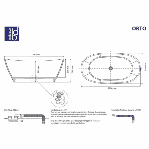 "40005002 Best-Design ""Orto"" vrijstaand bad ""Just-Solid"" 180x85x64cm afmetingen"