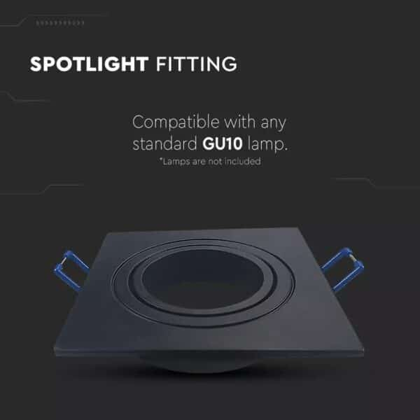 GU10 Armatuur Fitting Square Black VT-782 2