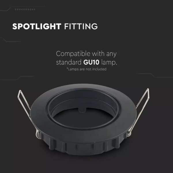 V-TAC GU10 Fitting Round Black 2